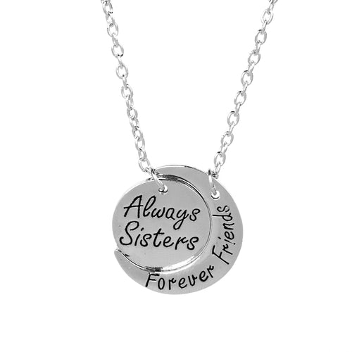Always sisters forever friends BFF Necklaces Round Curved moon Statement Necklace Christmas Gift For sister Bestfriend Jewelry
