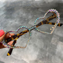 Load image into Gallery viewer, Heart Sunglasses Women Fashion Luxury Rhinestone Decoration Cat Eye Eyeglasses Oculos Clear Glasses