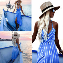 Load image into Gallery viewer, Beach dress boho bandage midi summer bohemian casual blue sun backless vestido chic striped v neck ladies long dresses