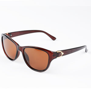 Luxury Brand Designer Brown Cat Eye Polarized Sunglasses Womens Elegant Eyewear Oculos De Sol