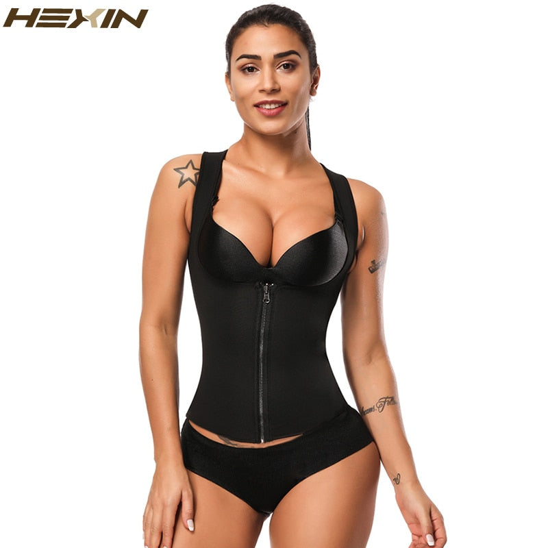 Neoprene Vest Waist Trainer Sweat Body Shaper Slimming Shapewear Zipper Weight Loss Black Corset