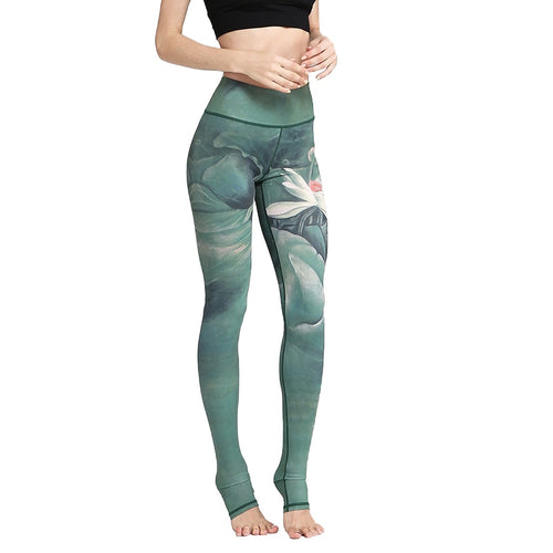 Women's High Waist Printed Yoga Pants Tummy Control Workout Running 4 Way Stretch Yoga Leggings Blue Green