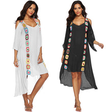 Load image into Gallery viewer, Large Size Robe Beach Dress Long Cover Up Swimsuit Cover-up Women Ups White Bathing Suit Maxi Wear Beachwear Crochet Flower
