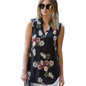 Summer Chiffon Women Blouses Vintage Floral Print Blouse Sexy V Neck Sleeveless Tunic Casual Loose Ladies Tops