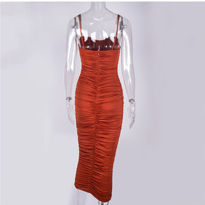 2 Layers Summer Dress Women Pleated Long Dress Sexy Spaghetti Straps Ruched Party Dress Brown Vestidos Robe Femme