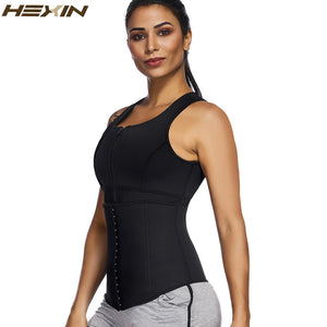 Steel Bone Neoprene Sauna Sweat Body Shaper Women Zipper Waist Trainer 4 Row Hooks Slimming Shapewear