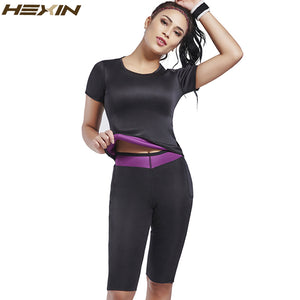 Neoprene Vest Sauna Sweat Shirt Body Shapewear Sets Slimming Lingerie Shaper Top+Pants
