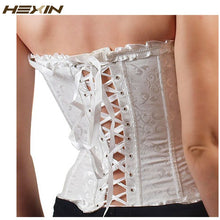 Load image into Gallery viewer, Sexy Women Corset Brocade Floral Bustier Top Lace Up Back Lingerie Body Shaper Overbust Shapewear Waist Shaper Corsets
