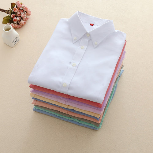 Women Blouses Long Sleeve Oxford Ladies Tops Office Long Sleeve Shirts Women Student Blouse