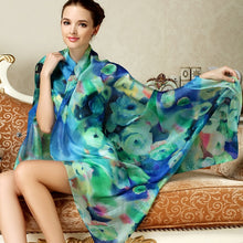 Load image into Gallery viewer, Women Long Silk Scarf Shawl Spring Autumn Female Silk Scarves Printed Summer 100% Genuine Silk Beach Cover-ups