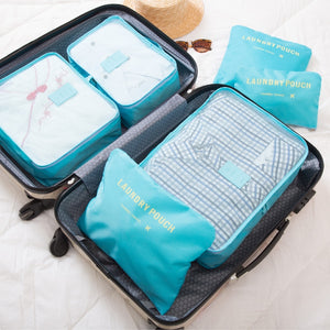 6pcs/set Men and Women Luggage Travel Bags Packing Cubes Organizer Fashion Double Zipper Waterproof Polyester Bag