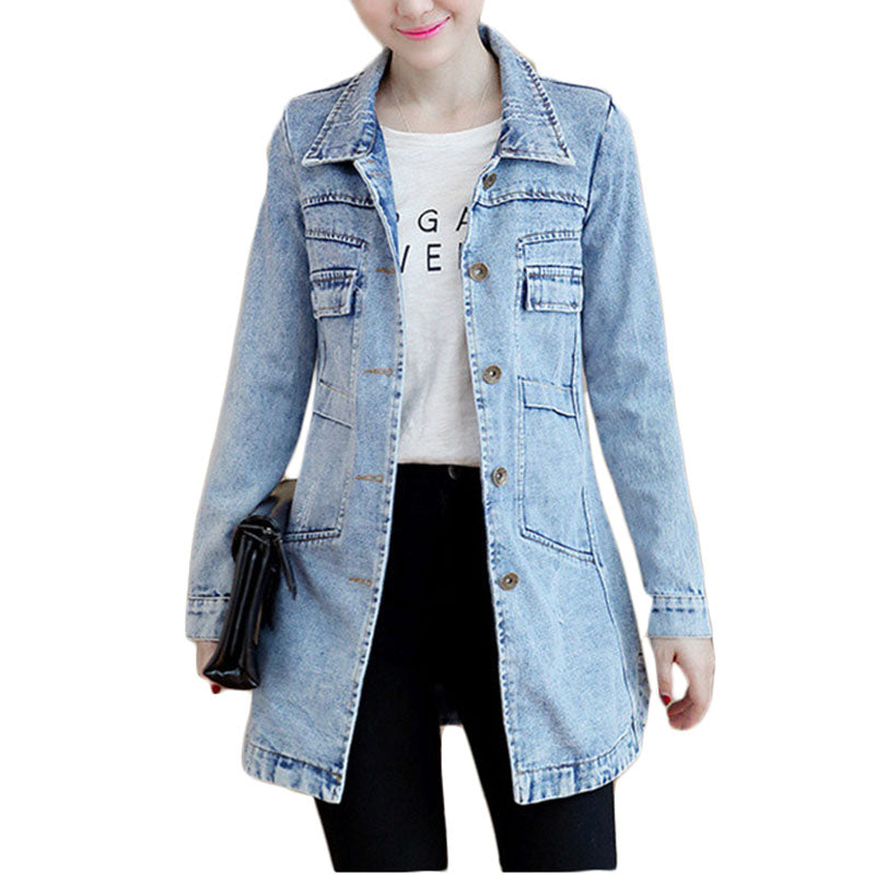Autumn Winter Denim Jacket Women Slim Long Base Coat Frayed Navy Blue Plus size Coats Cool 5XL