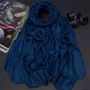 190*80cm Pearl Solid Linen Silk Scarf Shawl Autumn Winter Scarf Women Beautiful Scarves