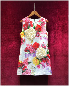 Women's Summer Runway Jacquard A Line Mini Dress Fashion Sleeveless Floral Print Appliques Female Party Dresses