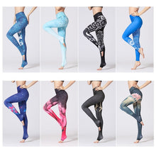 Load image into Gallery viewer, Vintage Fitness Yoga Pants Slim High waist Sport Leggings Gym Girls Elastic Printed Tights for Running Jogging Tummy Control