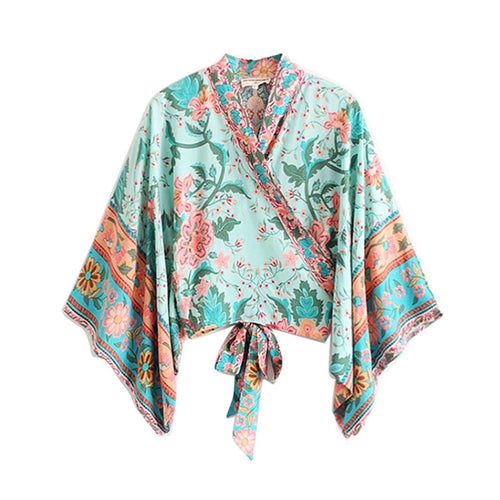 GYPSY Boho Chic Summer Beach Kimono Vintage Floral Print Crop  Women Blouses Fashion Clothes Bow Tie Wrap Shirts
