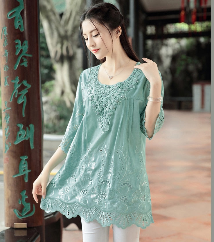 Summer Blouse Women Tops Embroidery Beads Vintage Plus Size