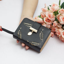 Load image into Gallery viewer, New Women Wallets Ladies Buckle Hollow Leaf Purse Card Holder