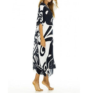 Plus size Cotton Print Black Bohemian Dress Robe Summer Long Maxi Beach Dress Vestidos Largos Ladies Holiday Sun Dress