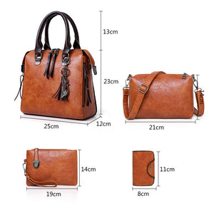 New 4pcs/Set Women Composite Bags High Quality Ladies Handbags Female PU Leather Shoulder Messenger Bags Tote Bag