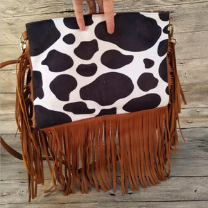 Cow Suede Fringe Bag Cowhide Crossbody Bag Women Clutch Bag