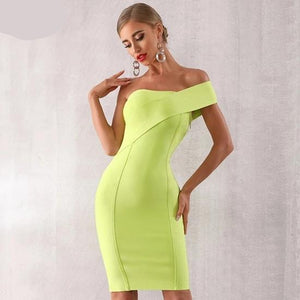 Summer One Shoulder Women Bandage  Bodycon Club Vestido Celebrity Evening Party Dress