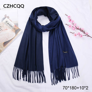 New Double Sided Winter Women Cashmere Solid Pashmina Shawls And Wraps Female Head Scarves