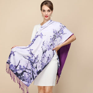Fashion Designer Ladies Big Scarf Brand Wraps Real Double-deck Thickened Brush Autumn Winter