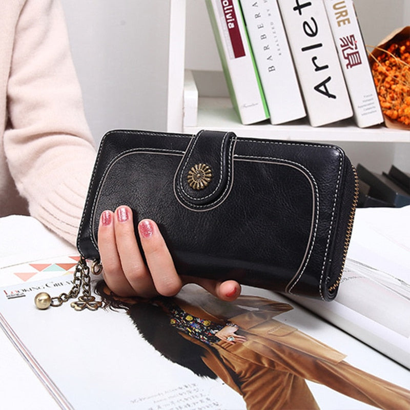 Wallet Women Female Clutch Purse Leather Long Wallet Phone Bag Coin Purse Card Holder Money Zipper Strap Multifunction