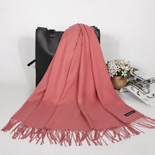 Load image into Gallery viewer, Winter Cashmere Women Scarf Luxury Brand Scarves Tassel Solid Foulard Tippet