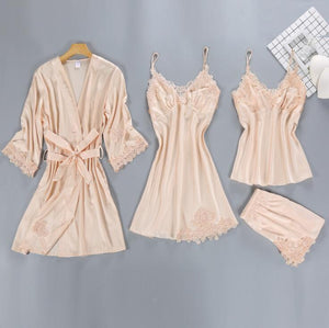 4 Pieces Women Pajamas Sets Satin Sleepwear Spaghetti Strap with Chest Pads