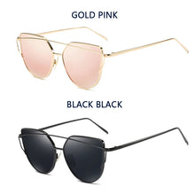 Load image into Gallery viewer, Cat Eye Vintage Brand Designer Rose Gold Mirror Sunglasses For Women flat lens oculos