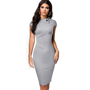 Vintage Elegant Pure Color with Button Office Work Business Formal Bodycon Women Pencil Dress