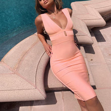 Load image into Gallery viewer, Women Cut Out Bodycon Sexy Double Deep V Neck Pink Bandage Dress