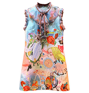 Colorful Lace Patchwork Printed Short Dress Women's Sleeveless A-Line Mini Dress