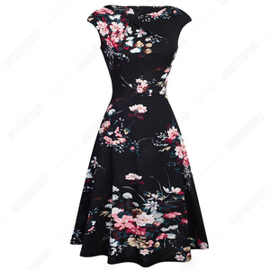 Women Elegant Summer Ruched Cap Sleeve Casual Wear To Work Office Party Fitted Skater A-Line Swing Dress