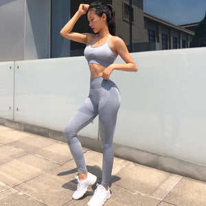 New Seamless Yoga Set Women Clothing Sportswear Leggings Padded Push-up Strappy Sports Bra