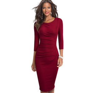 Solid Color Elegant Work Office Dresses Business Formal Party Bodycon Sheath Women Dress