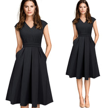 Load image into Gallery viewer, Brief Elegant Solid Color Sleeveless Vestidos with Pocket A-Line Women Flare Dress
