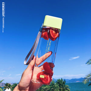 500ml Cute New Square Tea Milk Fruit Water Cup for Water Bottles Drink with Rope Transparent Sport Heat Resistant