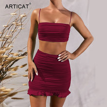Load image into Gallery viewer, Women Two Piece Set Bodycon Dress Ruffles Off Shoulder Crop Top Summer Dress Casual Short Beach