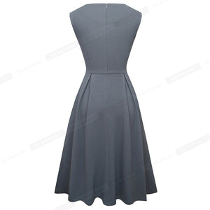 Brief Elegant Solid Color Sleeveless Vestidos with Pocket A-Line Women Flare Dress