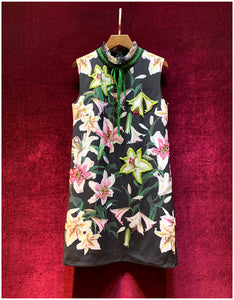 Runway Autumn Vintage Black lily Flower Print Dress Women's Exquisite Beading Party luxury Sleeveless Mini Dresses