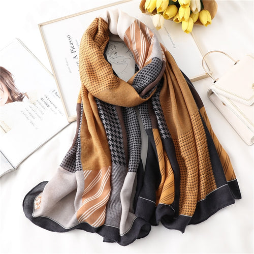 New design brand spring women scarf fashion plaid print cotton hijabs scarves for ladies shawls and wraps pashmina stoles