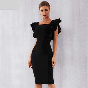 New Arrival Summer Women Celebrity Party Bandage Dress Vestido Sexy Black Ruffles Butterfly Sleeve Bodycon Club Dress