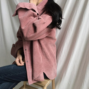 New Corduroy Jackets Women Winter Autumn Coats Plus Size Tops Cute Solid Color Clothing