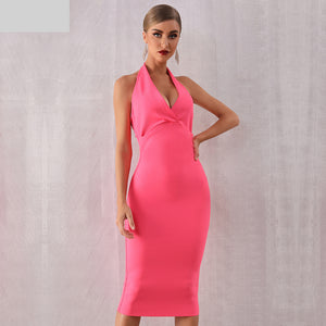 New Summer Women Bodycon Bandage Dress Sexy Halter V Neck Backless Club Dress Rose Red Knee Length Celebrity Evening Runway Party Dress