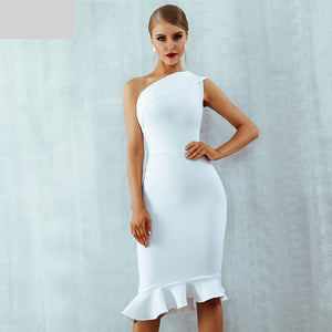 Summer Women Bandage Dress Vestidos One Shoulder Sleeveless Ruffles Nightclub Dress Celebrity Evening Party Dress