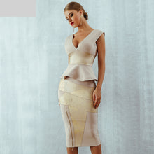 Load image into Gallery viewer, Ruffles Celebrity Party Dress New Summer Women Bodycon Set Sleeveless V-Neck Front Zipper Bandage Dress Women Vestido