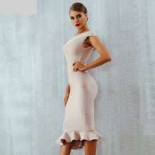 Load image into Gallery viewer, Summer Women Bandage Dress Vestidos One Shoulder Sleeveless Ruffles Nightclub Dress Celebrity Evening Party Dress
